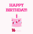 happy birthday typography with a flat birthday vector image vector image