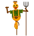 Happy scarecrow holding trident vector image vector image