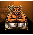 kungfu rat esport mascot logo design vector image vector image