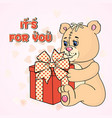 lovely smiling toy bear with present vector image
