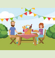 man and woman couple in the table with basket vector image vector image
