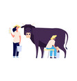 milk farm characters flat cow woman with bottle vector image vector image