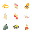 ministration icons set isometric style vector image