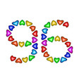 number 96 ninety six of colorful hearts on white vector image vector image