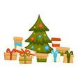 pine tree decorated with garlands presents below vector image vector image