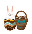 rabbit inside egg and hamper with eggs vector image vector image