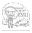 racer coloring page vector image vector image
