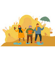 rain in autumn kids playing with leaves outdoors vector image