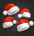 realistic santa christmas holiday hat set vector image vector image