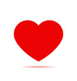 red heart with shadow isolated icon vector image vector image