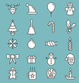 Set of flat outlined Christmas icons variable line vector image vector image