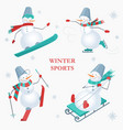 set of snowmen on a white background with vector image
