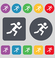 simple running human icon sign A set of 12 colored vector image vector image