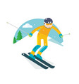 ski player slide in the snow mountain vector image
