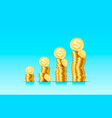 stacks increasing coins gold coins on blue vector image