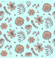 summer floral pattern with doodle orange flowers vector image vector image