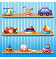 Three wooden shelves with toys vector image vector image