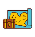 treasure chest game with map vector image