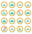 water sport cartoon icon circle vector image vector image