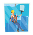 windows cleaning worker professional vector image vector image