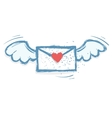 winged love letter vector image vector image