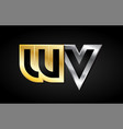 wv gold silver letter joint logo icon alphabet vector image vector image