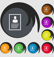 form icon sign Symbols on eight colored buttons vector image