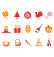 orange red color holiday icons set vector image