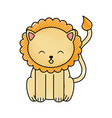 cute scribble lion cartoon vector image