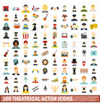 100 theatrical actor icons set flat style vector image vector image