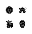 asia black glyph icons set on white space vector image vector image