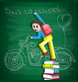 back to school student is standing on a stack vector image vector image