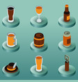 beer color isometric icons vector image vector image