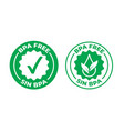 bpa free green check mark certified icon safe vector image vector image