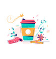 cardboard cup warm coffee with sugar and anise vector image vector image