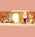 cartoon of a bedroom interior vector image vector image