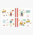characters perform hand gestures landing page vector image