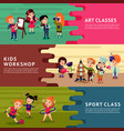 children hobbies education horizontal banners vector image vector image