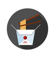 chinese noodles in paper box and chopsticks flat vector image vector image
