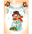 christmas card snowman vector image vector image