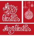 Christmas cardsLettering typography elementsRed vector image vector image