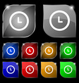 clock icon sign Set of ten colorful buttons with vector image vector image