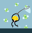coin money catch flying dollar bill vector image