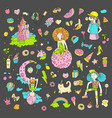 colored set teenage girl icons cute cartoon vector image vector image