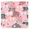 cute cup cake and icecream seamless pattern vector image