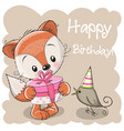 cute fox with gift on a beige background vector image