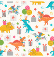 dino birthday party pattern vector image