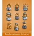 doodle profession set isolated on orange vector image vector image