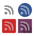 dotted icon rss sign in four variants vector image