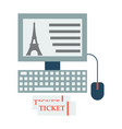 eiffel tower icon in computer vector image vector image